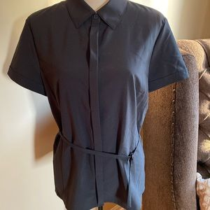 Ann Taylor Black Button Down w/ Belt